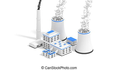 Nuclear power plant. - Small nuclear power plant isolated on...