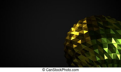 Dark background with abstract glossy shape as low poly ball....