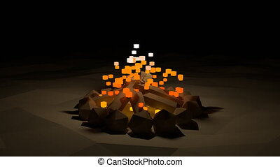 Campfire animation - Abstract lowpoly fire in the dark...
