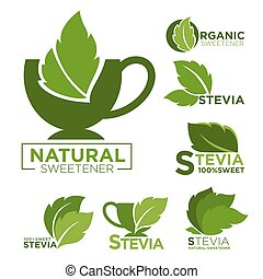 Natural sweetener promotional emblems set with cups and mint...