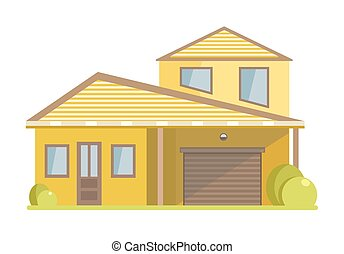 Facade of small house with yellow walls and spacious garage...