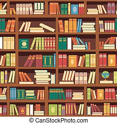 Library book shelf seamless vector pattern of literature...