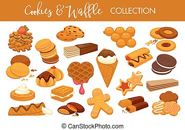 Sweet delicious cookies and waffles isolated illustrations...