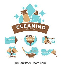 Cleaning service promotional emblems set with cleaners and...