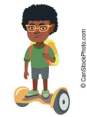 African schoolboy riding on gyroboard to school. - Joyful...