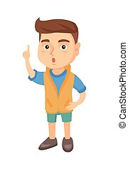 Caucasian boy with open mouth pointing finger up. - Happy...