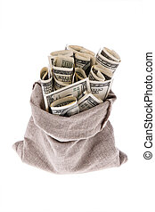 Dollar money bills into a bag - Many dollar bills in a bag....
