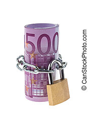 Euro bank note concludes with a chain - 500 ? bill concluded...