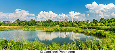 Monastery pond in Suzdal, Russia - Monastery pond in Suzdal,...