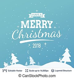 Christmas background design. - Winter forest and greeting...