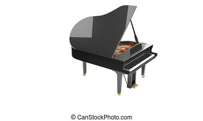 Black glossy musical instrument - acoustic piano. - Grand...