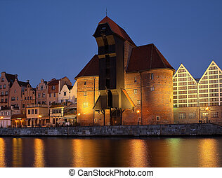 Gdansk of Riverside at dawn - The riverside with the...