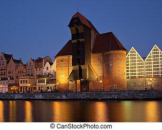 Gdańsk, nadrzecze, świt