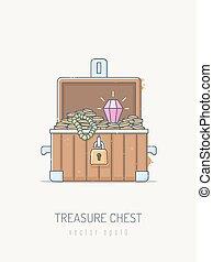 Treasure Chest - Pirate treasure chest with gold, diamond...