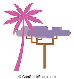 Pink Palm and Violet Exotic Tree Isolated on White - Pink...