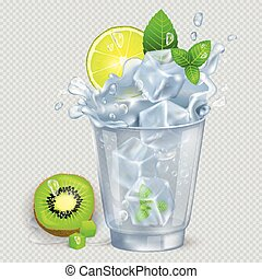Faceted Glass of Mojito with Ice Illustration - Faceted...