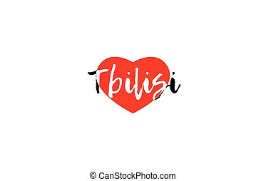 European capital city tbilisi love heart text logo design -...