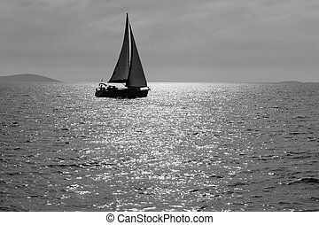 Lone Sailboat - Lone yacht sailing in the Adriatic sea Black...