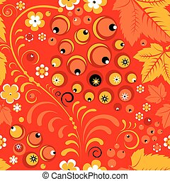 Russian khokhloma seamless pattern in folk style