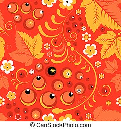 Khokhloma seamless pattern in russian folk style