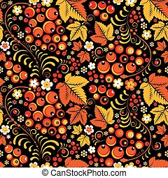 Khokhloma seamless pattern in slavic folk style