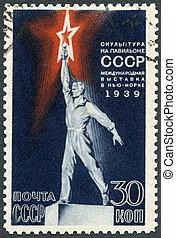 USSR - 1939: shows Worker Statue on Soviet USSR Pavilion...