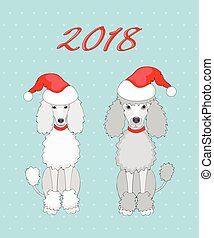 pair of poodle with 2018 - Symbol year 2018 funny cartoon...