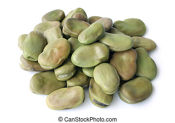 Dried fava beans on white background