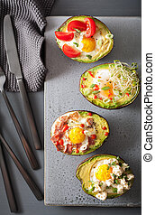 eggs baked in avocado with bacon, cheese, tomato and alfalfa...