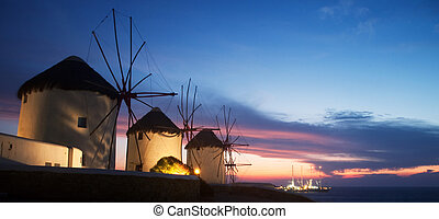 Windmills on the island of Mykonos (Greece) (at Night)