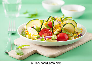 spiralized courgette salad with sweetcorn tomato avocado,...