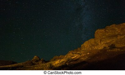 Time lapse of Milky Way over high desert in Antelope central...