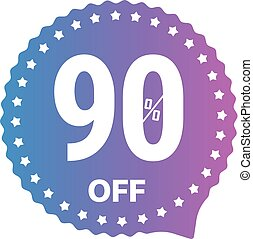 Sale banner vector label isolated on white. 90 percent off...
