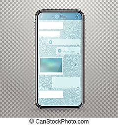 Modern tablet smartphone vector mockup with messenger...