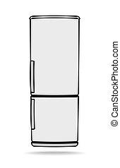 Fridge vector icon, refrigerator symbol on white background....