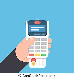 Payment by bank card. Payment terminal in the person hand....