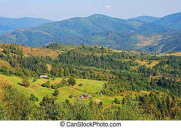 Mountain landscape in Carpathian - View of high mountain...