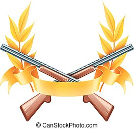 Emblem for hunting or shooting from rifles, championship...