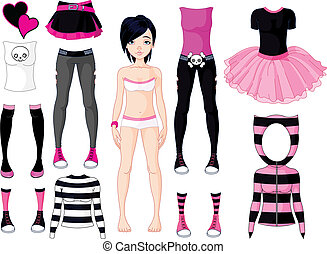 Girl with dresses Emo stile - Paper Doll with different...