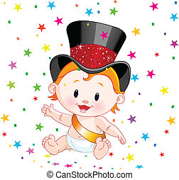 New Year baby - Cute baby in a top hat with party confetti