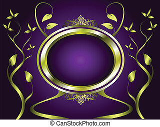 Abstract Gold and Purple Floral Vector Design - A gold...