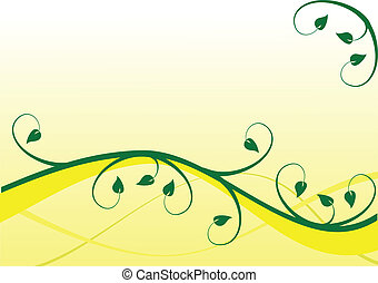 A yellow and green floral background