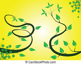 A green and yellow  floral background design