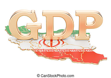 gross domestic product GDP of Iran concept, 3D rendering...