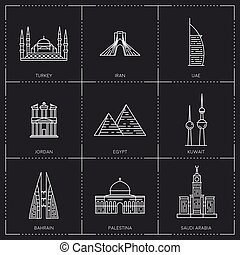 Middle East landmarks. The collection include Turkey, Iran, UAE, Jordan, Egypt, Kuwait, Bahrain, Palestina and Saudi Arabia famous buildings and monuments.