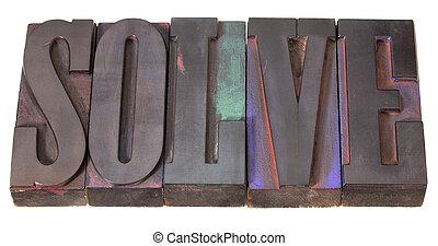 solve word in letterpress type