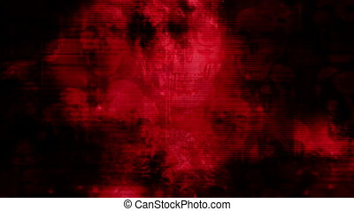 Skulls black and red grunge glitch horror abstract loop -...