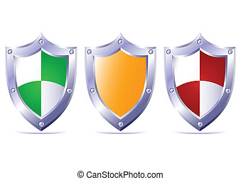 Triple protection. - Three protective boards on a white...