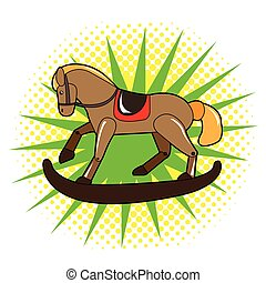 Isolated wooden horse toy on a colored background, Vector...