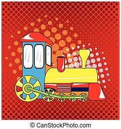 Isolated train toy on a colored background, Vector...